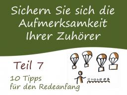 Webinar: Teil 7: 10 Tipps für den Redeanfang - Zuhörer begeistern