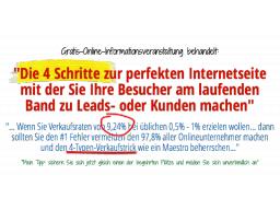 Webinar: Die 4 Schritte zur perfekten Internetseite mit der Sie Ihre Besucher am laufenden Band zu Leads- oder Kunden machen