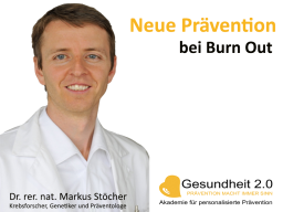 Webinar: Neue Prävention bei Burn Out