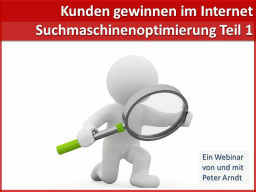 Webinar: Webinar Kompaktkurs - Teil 5 - Suchmaschinenoptimierung