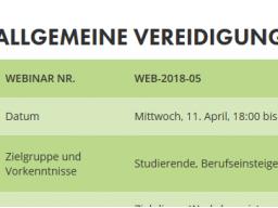 Webinar: Allgemeine Vereidigung