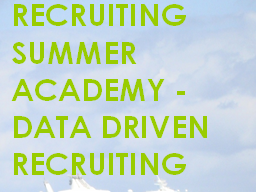 Webinar: RSA Data Driven Recruiting - Die Basics