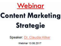 Webinar: Webinar: Content Marketing Strategie