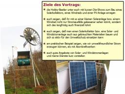 Webinar: Kleiner Solarkollektor, ein Windrad u. eine Solaranlage selber bauen