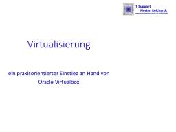 Webinar: Virtualisierung - ein Einstieg mit Praxisbeispiel
