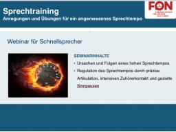 Webinar: Business: Sprechtraining - Sprechtempo