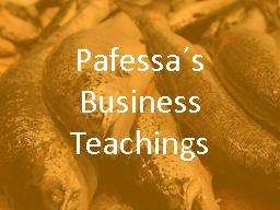 Webinar: Pafessa´s Business Teachings