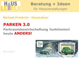 Webinar: PARKEN 3.0 - Parkraumbewirtschaftung funktioniert heute ANDERS!