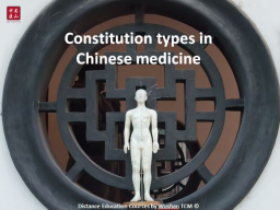Constitution types in Chinese medicine (Part 1/2)