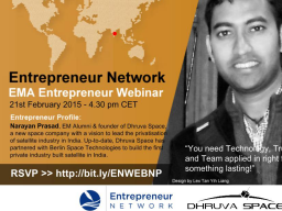 Webinar: An Erasmus Mundus Alumni in building an Aerospace Startup - Entrepreneur Network