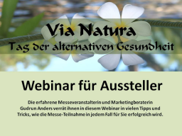 Webinar: Marketing für Aussteller der Via Natura