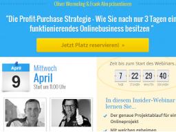 Webinar: Die Profit-Purchase Strategie- Wie Sie nach nur 3 Tagen ein funktionierendes Onlinebusiness besitzen