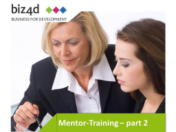 Webinar: Mentor Training Part II: Methods for the arrangement of mentor-mentee-cooperations