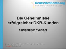 Webinar: Die Geheimnisse erfolgreicher DKB-Kunden