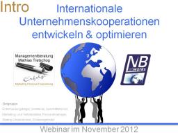 Webinar: Internationale Kooperationen entwickeln & optimieren