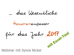 Webinar: Preis- und Honoraranpasser 2017