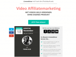 Webinar: Video Affiliatemarketing MIT VIDEOS GELD VERDIENEN OHNE EIGENES PRODUKT