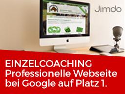 Webinar: Einzelcoaching: Professionelle Jimdo Webseite bei Google auf Platz 1