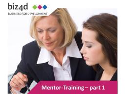 Webinar: Mentor Training Part I: Theoretical basics for mentors