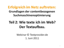 Webinar: Textprovider-Webinar Teil 2