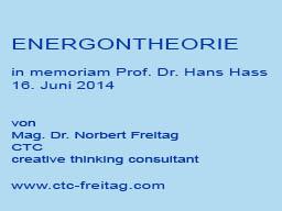 Webinar: ENERGONTHEORIE in memoriam Prof. Dr. Hans Hass