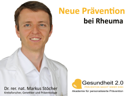 Webinar: Neue Prävention bei Rheuma