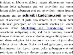 Webinar: Marketing mit Storytelling - Teil 1