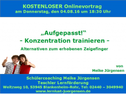 "Webinar: ""Aufgepasst!"" Konzentration trainieren - Alternativen zum erhobenen Zeigefinger"