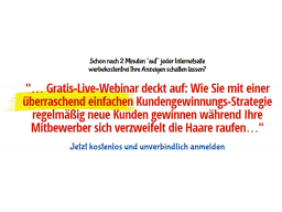 """Webinar: Wie Sie schon nach 2 Minuten """"auf"""" jeder Internetseite werbekostenfrei Ihre Anzeigen schalten lassen"""