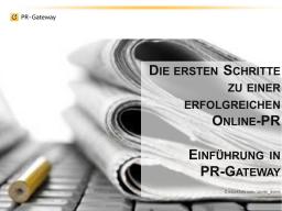 Webinar: Die ersten Schritte zu einer erfolgreichen Online-PR - Einführung in PR-Gateway