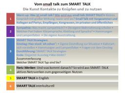 Webinar: Teil 2: Vom small talk zum SMART TALK Die Kunst Kontakte zu Knüpfen und zu nutzen