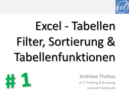 Webinar: Excel - Effizienter Umgang mit Tabellen - Teil 1